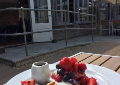 Photo of waffles and creme fraiche Jordans Courtyard